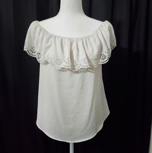 Off the Shouler White Top with Floral Trim